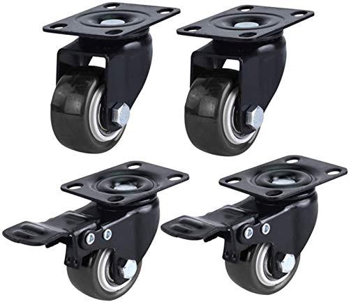 4 ruedas industriales 1,5 pulgadas for trabajo pesado ruedas con freno Muebles carretilla de la PU de goma silenciosa con articulación universal Transporte ruedas for la tabla Silla de jardín 200kg