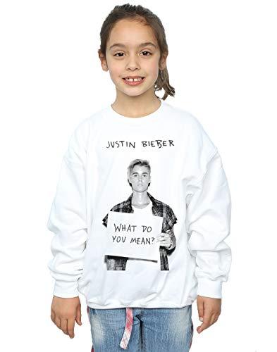Justin Bieber Mädchen What Do You Mean? Sweatshirt 12-13 Years Weiß