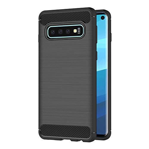 Hoesje voor Samsung Galaxy S10 (6,1 inch Scherm) Geborsteld Koolstofvezel TPU Schokbestendige Antislip Zachte Beschermende Case (Zwart)