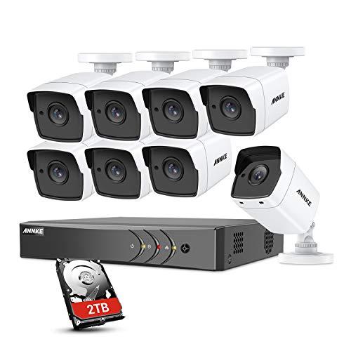 ANNKE 8CH CCTV Videosorveglianza HD 5MP H.265Pro+ DVR Lite con 8 * 5MP Telecamere da Esternocon Kit Sorveglianza con EXIR LED IR Night Vision E-mail Accesso Remoto 2TB HDD