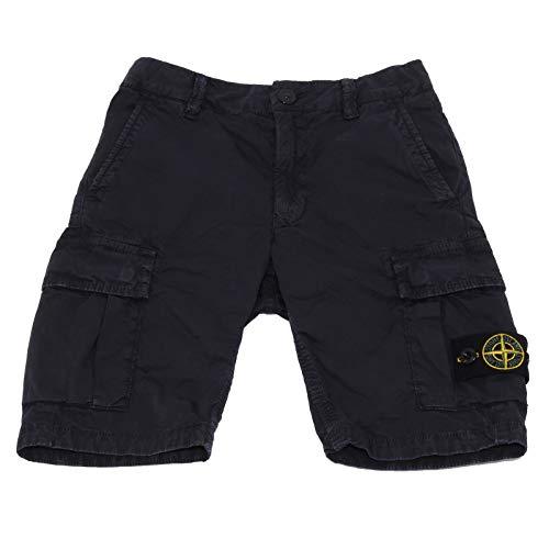 Stone Island 2099AB Bermuda Bimbo Boy Junior Blue Garment Dyed Cotton Shorts [6 Years]