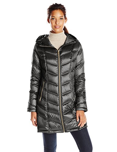Calvin Klein Women's Mid-Length Packable Chevron Down Coat, Black, Medium