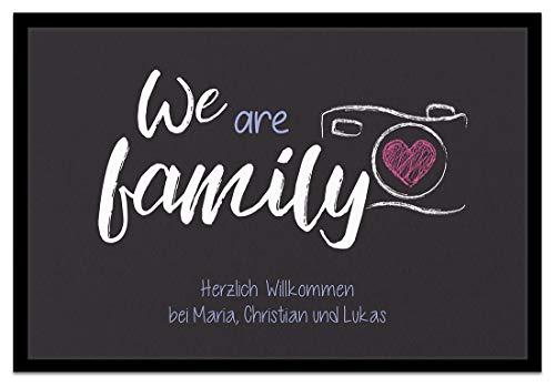Creativgravur Fußmatte We are Family Inkl. Ihrem Namen - Personalisierte Schmutzfangmatte, Größe der Fußmatte:50 x 70 cm