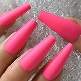 uñas postizas Mate rosa rosa 24 unids/set puntas de uñas postizas cubierta completa uñas postizas largas de Ballet con adhesivo arte de uñas herramientas de manicura francesa