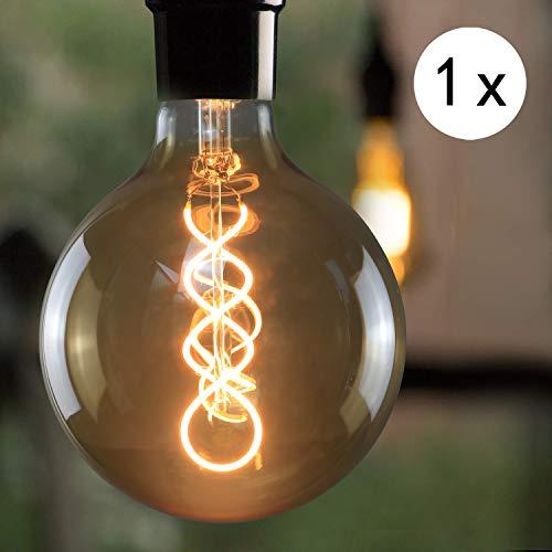LED Edison Glühlampe E27, 4W Retro Groß Edison Glühbirne, GBLY Dekorative Filament Globelampen, G125 Warmweiß Antike Bulb für Nostalgie und Retro Beleuchtung im Haus Café Restaurant, Nicht Dimmbar