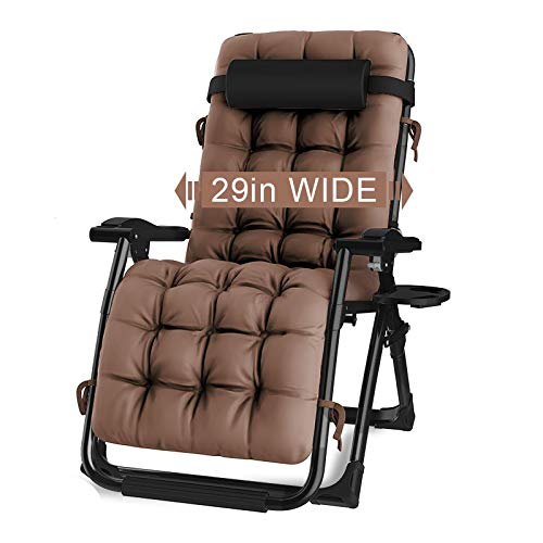"""KINGBO Oversized Zero Gravity Chair, Lawn Recliner, Reclining Patio Lounger Chair, Folding Portable Chaise, with Detachable Soft Cushion, Cup Holder, Adjustable Headrest, Support 500 lbs. (29"""" Wide)"""