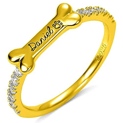 Anillo de plata de ley 925 MSYOU anillo de hueso de perro personalizado anillo de nombre personalizado de plata de ley-nombre de anillo de mascota chapado en oro de 18 quilates