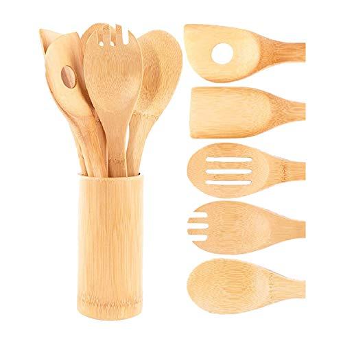 Tamkyo Juego de Cucharas y EspáTulas de Madera de Bambú: 5 Piezas de Utensilios de Cocina y 1 Soporte, Resistentes Al Calor Utensilios de Cocina Antiadherentes