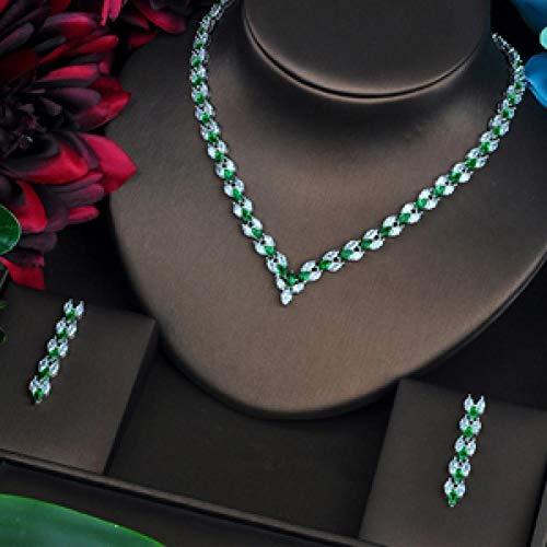 LIYDENG Joyería V diseño de letra marquesa corte verde CZ conjuntos de joyería para mujeres collar conjunto de joyería de boda (color: oro blanco)