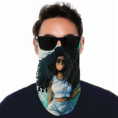 Sun Protection Ear Hanging Face Mask Scarf Bandana, Seamless Dust Proof Balaclava for Walking Snowboard, Men & Women Best Anime Cute Black Curly Hair African Girl Drawing Motorcycle Headwear
