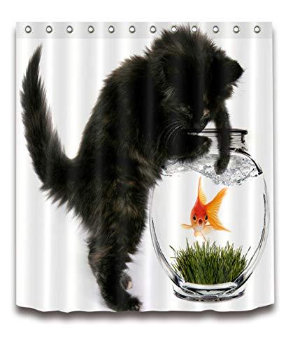 ZZZdz Katten en Goudvissen spelen. Woondecoratie. Douchegordijn. 180 x 180 cm. 3D Hd Afdrukken. Waterdicht. Eenvoudig te reinigen. 12 vrije haken.