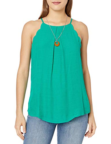 A. Byer Junior's Scalloped Edge Tank Top, Kelly Green, L
