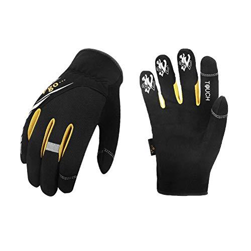 Vgo 3Pairs High Dexterity Light Duty Mechanic Glove, Rigger Glove, Anti-abrasion, Touchscreen(Size L, Black, SL8853)