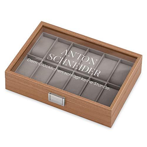 Murrano Uhrenbox mit Gravur für 12 Uhren - 31x21x7,5cm - Uhrenkasten aus Holz - Braun - Geschenk für Männer - Sprichwort