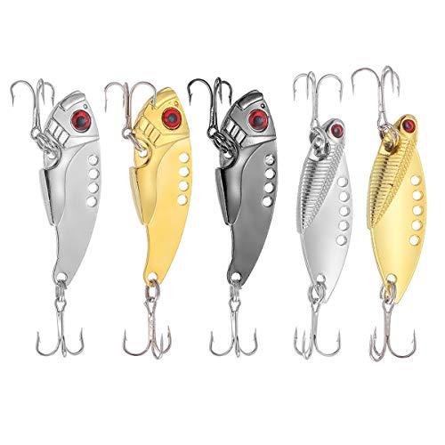 TUXIBIN Fishing Forellen Spoon Set 5 Spoons 11g mit Box und 5 Snaps Forellenköder Set zum Forellen Angeln Forellen Blinker UV Spoons Forellen Köder Forellen Set Spoon Forelle