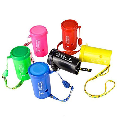 Kicko Multicolored Air Horn Whistle - 3 Inch - 12 Pack - Super Loud Blow Horn for Sport Event, Dog Walking at Night, Emergency Outdoor Survival Signal, Fire Alarm, Referee, Lifeguard, Train, Boat Horn