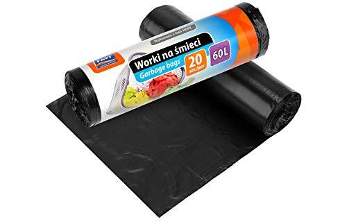 RAVI Müllbeutel, 60L, 20 Stück, Schwerlast Beutel, reißfeste Abfallsäcke, Säcke aus resistenter HDPE-Folie, Müllsäcke für Küche, Garage, Abfallbeutel aus wasserresistenter Folie, schwarz