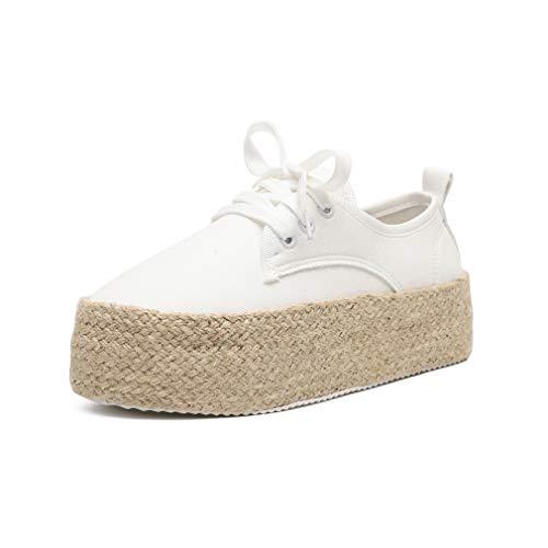 Mocasines Mujer Alpargatas Plataforma Mujer Verano Loafers Esparto Cuña 4.8CM Zapatos Tela Espadrillas PlanasCómodos Negro Oro Rojo Blanco Amarillo EU 35-43