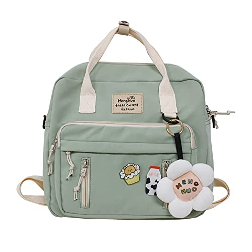 Cute Backpack Kawaii School Supplies Laptop Bookbag, Back to School and Off to College Accessories (Green)