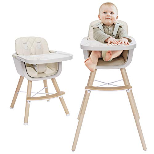 Mallify 3-in-1 Baby High Chair with Adjustable Legs, Tray -Cream Color Dishwasher Safe, Wooden High Chair Made of BPA-Free Plastic, Sleek Hardwood &...