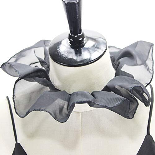 hainan Women Lolita Renaissance Mesh Ruffled Fake Collar Ribbon Black Neck Ruff Stage Victorian Cosplay Costume Choker Wrap