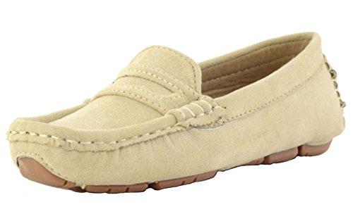 DADAWEN Girl's Boy's Slip-on Suede Loafers Casual Boat Shoes Beige 5 UK