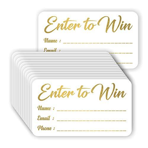 Enter to Win Karten (100 Stück), Goldfolienprägung, 8,9 x 5,1 cm, Wettkampf, Eintrittskarten, Glückskarten, Blanko-Tickets