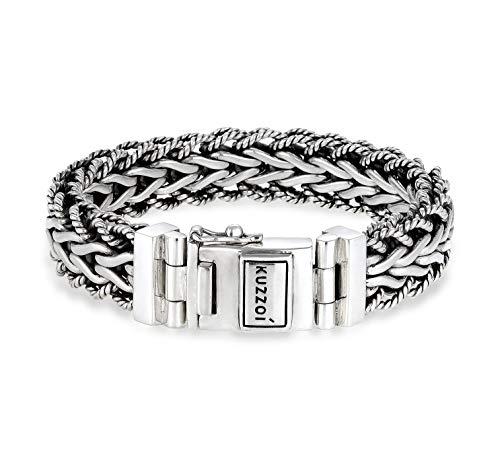 Kuzzoi handgefertigtes Silber Panzer-Armband aus massiven 925er Sterling Silber oxidiert mit Kastenverschluss und Logo Gravur, 15mm breit, 95g schwer, Länge 23 cm