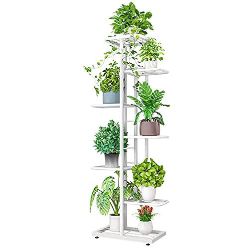 Soporte para Flores con 7 Estantes, Escalera para Flores de Metal, Estantería para Interior, Soporte para Plantas para Decoración Interior y Exterior (blanco)