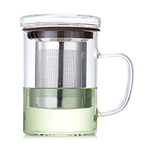 Taza de té de cristal con tapa y cesta de acero inoxidable, perfecta para uso en la oficina y el hogar para hojas sueltas