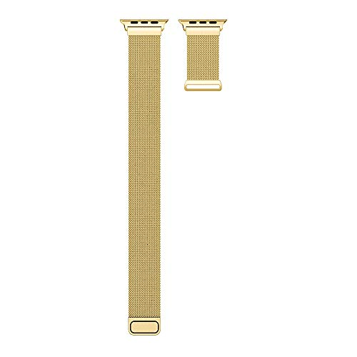 Kompatibel mit Apple Armband aus Edelstahl, 38 mm/40 mm/42 mm/44 mm, Milanaise-Stil, kompatibel mit iWatch 5/4/3/2/1, Ersatzarmband 42mm/1-3 Gold