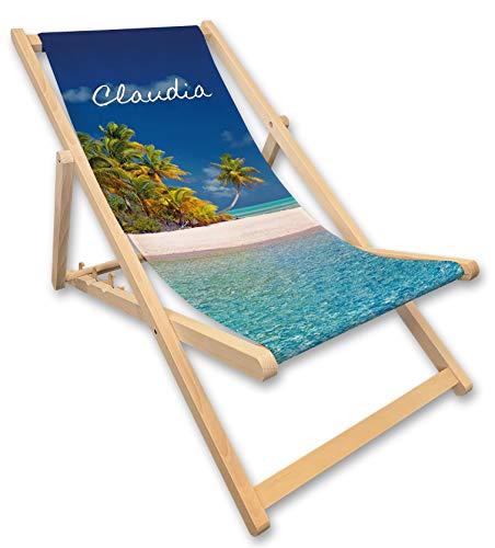 Werbetreff Gera Liegestuhl mit Name, Strandstuhl, Meer, türkis blau, Geschenkidee Frauen, Urlaub, Geschenk