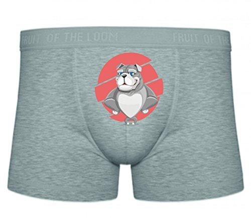 Druckerlebnis24 Boxershort Bulldogge- Hund- Tier- Haustier- Herz- Pelz- FREUNDLICH- Doggy- NIEDLICH- REINRASSIGE- LUSTIGER Hund- Freund S- XXL Sexy Unterhose Slip Shorts