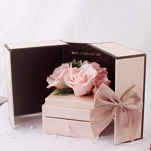 Doppel Offene Geschenkkarton Stieg (Seifenblume) Schublade Halskette Schmuckschatulle,B