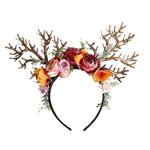 Amosfun Diademas de Reno de Navidad con Flores Banda de Cabeza Diademas de Ciervo Disfraz de Reno para Navidad Accesorios de Foto de Navidad