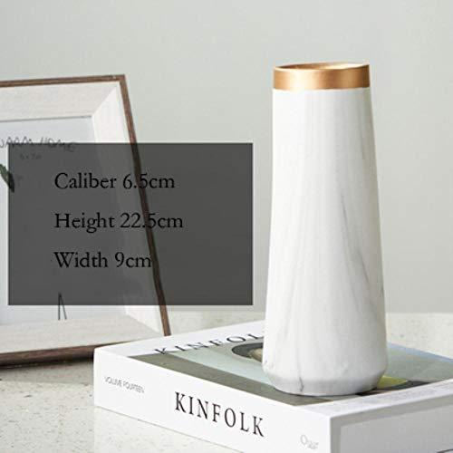 JNML Vase Keramik Weiß Marmor Vase Ins Nordic Tabletop Decor Hohe Golden Light Vase Wohnzimmer Home Minimalist White Black Vase