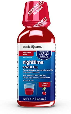 Amazon Basic Care Nighttime Cold and Flu Relief Pain Reliever Night Time Cherry 12 Fl Oz product image