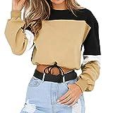 Aniywn Womens Long Sleeve Splicing Color Sweatshirt Pullover Tops Blouse Casual Short Crops Hooded Jumper(Khaki,2XL)