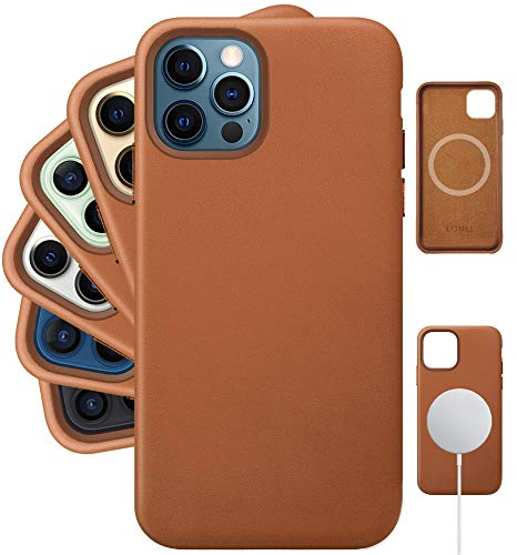 LONLI Classic | Genuine Nappa Leather Case with Built-in Magnets for MagSafe - for Apple iPhone 12 | 12 Pro - (6.1 inch, Caramel)