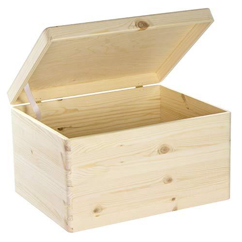 LAUBLUST Holzkiste mit Deckel - 40x30x24cm, Natur, FSC® - Aufbewahrungskiste | Erinnerungsbox | Bastel- & Geschenkkiste