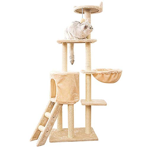 Cat klimrek met Sisal krabpaal bewoonbaar huis Hangmat, Cat Tower Furniture Kitten Play House (Kleur: Beige, Maat: 50.0X35.0X138.0cm) 8bayfa (Color : Beige, Size : 50.0X35.0X138.0cm)