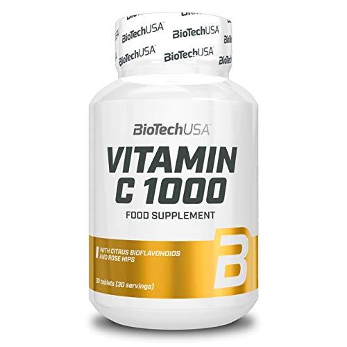 BioTech USA Vitamina C 1000 Paquete de 1 x 30 Tabletas - Ácido L-Ascórbico con Escaramujo – Hierbas - Antioxidante