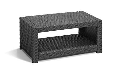 Koll Living Lounge Set Korsika in anthrazit, inkl. Sitzauflagen & Rückenkissen, langlebiger & wetterfester Kunststoff in Rattanoptik, 2 Sessel + 1 Sofa + Tisch - 7
