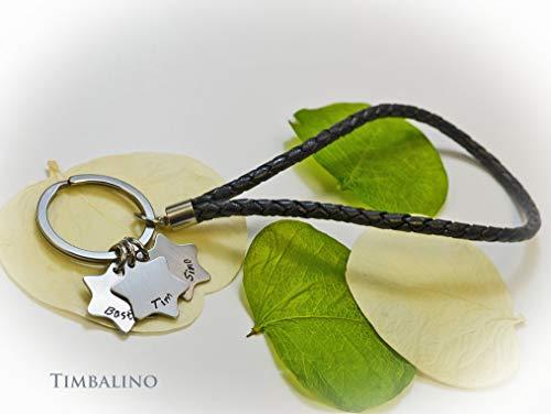 Schlüsselanhänger aus Leder und Edelstahl mit Sternanhängern Geschenk für Ihn