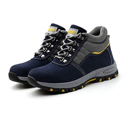 Timetided Light Zapatos de Seguridad en el Trabajo Puntera de Acero Anti-Smashing Anti-Piercing Calzado de protección multifunción para Hombres Zapatos de Seguridad - Azul - 44 Yardas