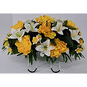 Spring or Easter Cemetery Flowers for Headstone and Grave Decoration-Yellow Peony and Lily Mix Saddle