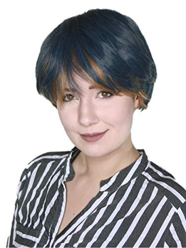 Prettyland Perruque Courte Chataîn Gris-Bleu Coupe Lisse Frange Droite Bicolore Manga Cosplay Disco Wig C956