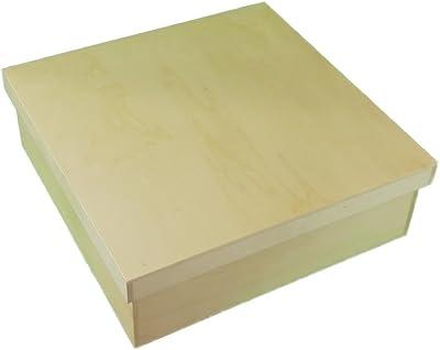 greca Caja de Madera Cuadrada con Tapa. En Crudo, para Decorar. Medidas (Ancho/Fondo/Alto): 31 * 31 * 12 cm. Disponible en 3 tamaños.: Amazon.es: Hogar