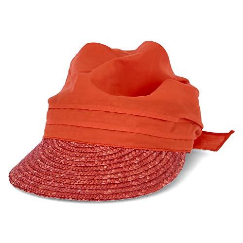 Seeberger Feminine Schirmmütze aus Strohborte mit UV-Schutz - Coralle (36) - One Size