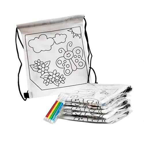 FUN FAN LINE® - Set de Mochilas Infantiles para Colorear con diseño de Mariposa. Ideal para Fiestas de cumpleaños Infantiles ¡Incluye rotuladores de Colores de Regalo! (20 Unidades)
